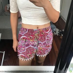 Pants - Red pom pom shorts from Bali
